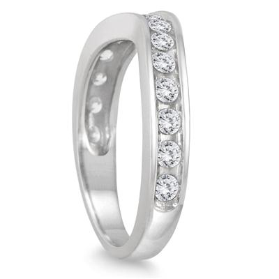 1 Carat TW Diamond Channel Set Curved Band in 14K White Gold