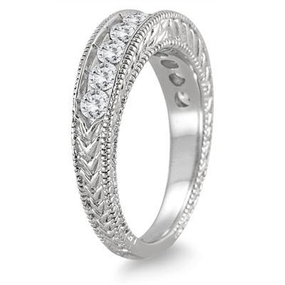 1 Carat TW Diamond Engraved Antique Ring in 14K White Gold