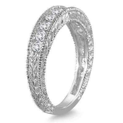 1/2 Carat TW Diamond Engraved Antique Band in 10K White Gold