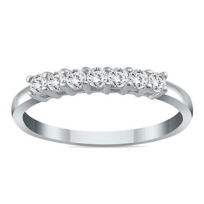 1/4 Carat TW Seven Stone Diamond Wedding Band in 10K White Gold