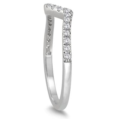 1/6 Carat TW Diamond Curved Wedding Band in 14K White Gold
