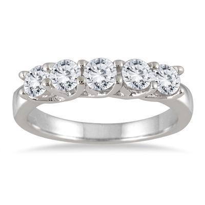 1 Carat TW Five Stone Diamond Wedding or Anniversary Band in 10K White Gold