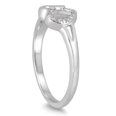 Diamond Accent Heart Link Ring in .925 Sterling Silver