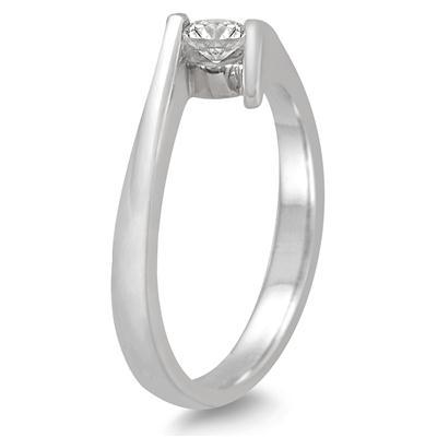1/5 Carat Round Diamond Embrace Ring in 14K White Gold