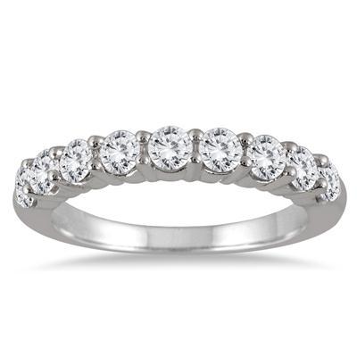 1 1/3 Carat TW 9 Stone Diamond Wedding Band in 14K White Gold