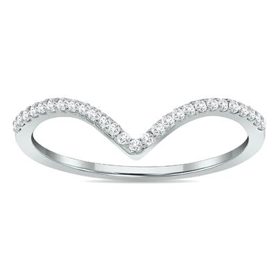 1/8 Carat TW Diamond V Ring in 14K White Gold
