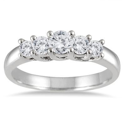 3/4 Carat TW Diamond Five Stone Ring in 14K White Gold