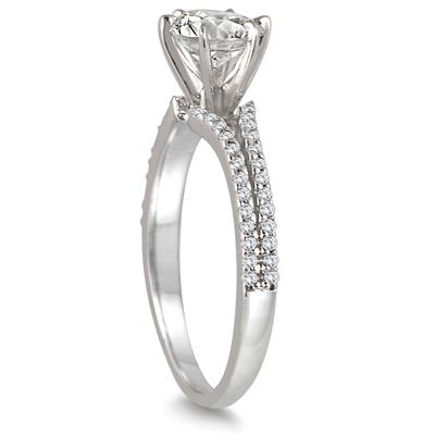 AGS Certified 1 1/4 Carat Round Diamond Split Shank Engagement Ring in 14K White Gold (J-K Color, I2-I3 Clarity)