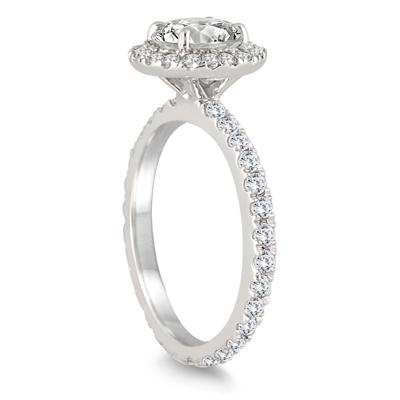 AGS Certified 1 1/2 Carat Eternity Halo Diamond Engagement Ring in 14K White Gold (I-J Color, I2-I3 Clarity)