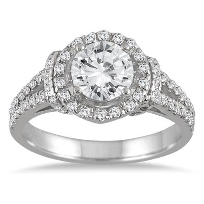 AGS Certified 1 1/2 Carat Diamond Split Shank Engagement Ring in 14K White Gold (I-J Color, I2-I3 Clarity)