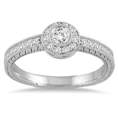 1/2 Carat TW Engraved Halo Ring in 14K White Gold