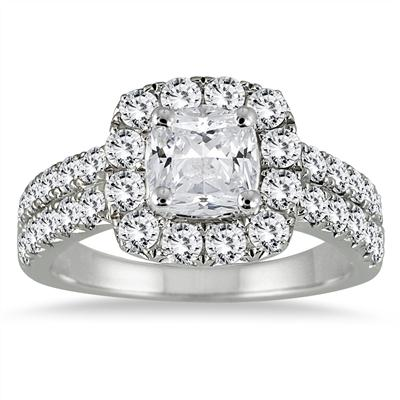 AGS Certified 2 1/10 Carat TW Cushion Cut Diamond Halo Engagement Ring in 14K White Gold