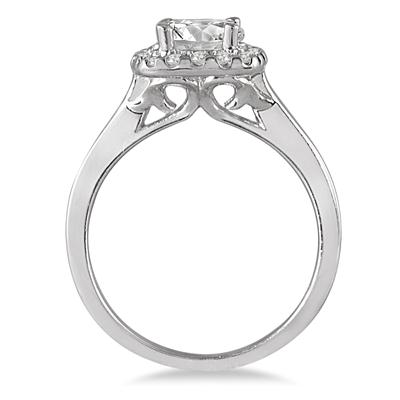 AGS Certified 1 1/3 Carat TW Diamond Cushion Cut Engagement Ring in 14K White Gold