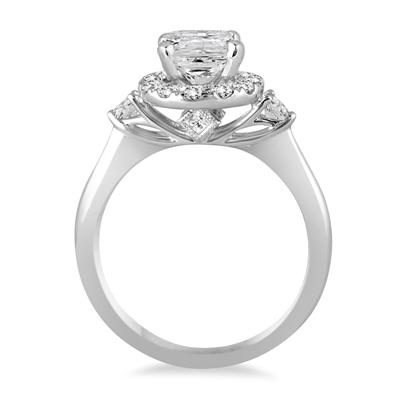 AGS Certified 1 1/2 Carat TW Cushion Cut Halo Engagement Ring in 14K White Gold
