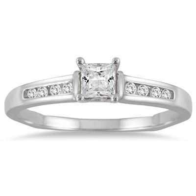 1/3 Carat TW Princess Cut Diamond Ring in 14K White Gold