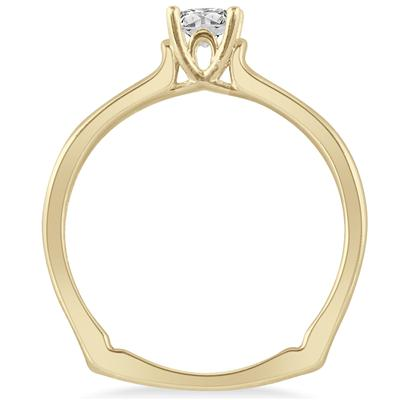 1/3 Carat TW Princess Cut Diamond Ring in 14K Yellow Gold