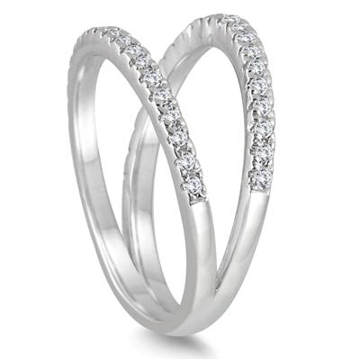 1/3 Carat TW Diamond Double Row Split Oyster Ring in 10K White Gold