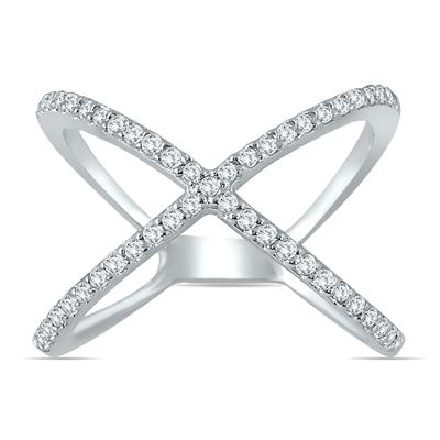1/2 Carat TW Diamond Criss Cross X Ring in 10K White Gold (K-L Color, I2-I3 Clarity)