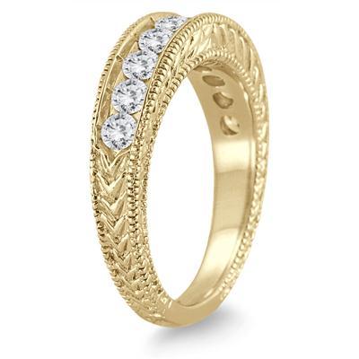 1 Carat TW Diamond Engraved Antique Ring in 14K Yellow Gold