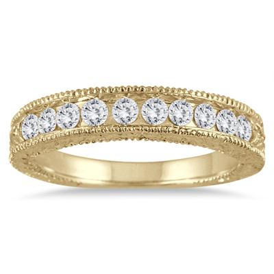 1/2 Carat TW Diamond Engraved Antique Band in 10K Yellow Gold