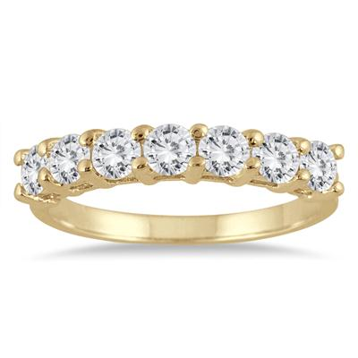 AGS Certified 1 Carat TW Seven Stone Diamond Wedding Band in 14K Yellow Gold (K-L Color, I2-I3 Clarity)