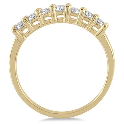 1/2 Carat TW 7 Stone Diamond Band in 10K Yellow Gold