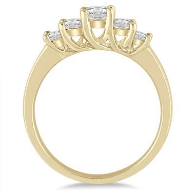 3/4 Carat TW Diamond Five Stone Ring in 14K Yellow Gold