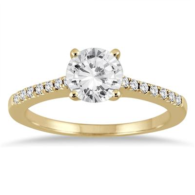 AGS Certified 1 1/10 Carat TW Diamond Ring in 14K Yellow Gold (J-K Color, I2-I3 Clarity)