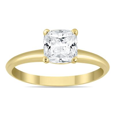 AGS Certified 1 Carat Cushion Cut Diamond Solitaire Ring in 14K Yellow Gold