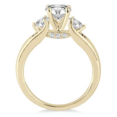 1 Carat TW Diamond Three Stone Engagement Ring in 14K Yellow Gold