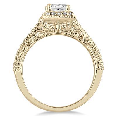 3/4 Carat TW Princess Deco Diamond Halo Engagement Ring in 14K Yellow Gold