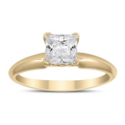 AGS Certified 1 Carat Princess Diamond Solitaire Ring in 14K Yellow Gold (J-K Color, I2-I3 Clarity)