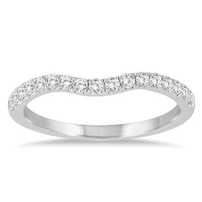 1/4 Carat TW Curved Diamond Wedding Band in 14K White Gold