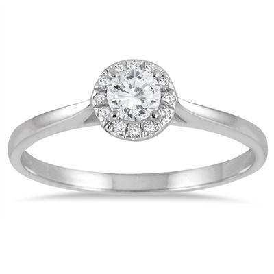 1/3 Carat TW Diamond Halo Ring in 14K White Gold