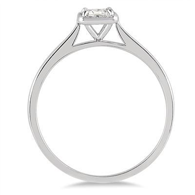 1/3 Carat TW Princess Diamond Halo Ring in 14K White Gold