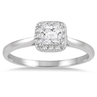 1/2 Carat TW Diamond Princess Halo Ring in 14K White Gold