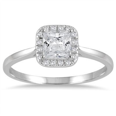 7/8 Carat TW Princess Halo Diamond Engagement Ring in 14K White Gold