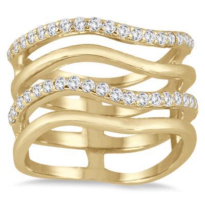 3/8 Carat TW 4 Row Diamond Wave Ring in 10K Yellow Gold