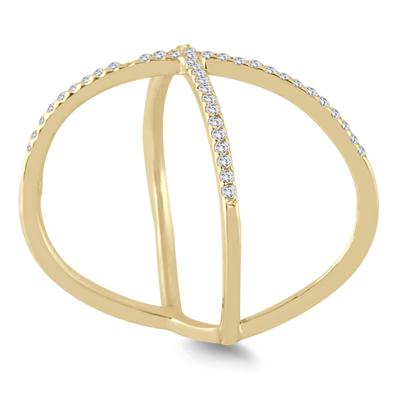 1/2 Carat TW Diamond Criss Cross X Ring in 10K Yellow Gold (K-L Color, I2-I3 Clarity)