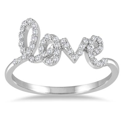 1/4 Carat TW Diamond Love Ring in 14K White Gold