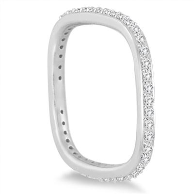 1/2 Carat TW Square Eternity Euro Shank Ring in 14K White Gold