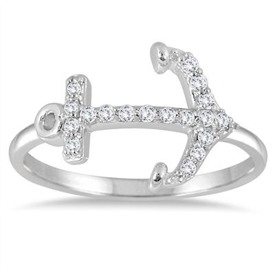1/5 Carat TW Diamond Anchor Ring in 10K White Gold