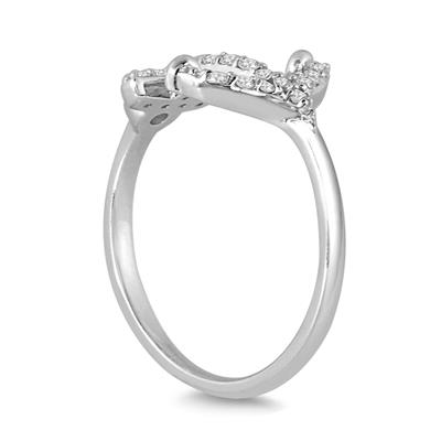 1/5 Carat TW Diamond Anchor Ring in 10K White Gold