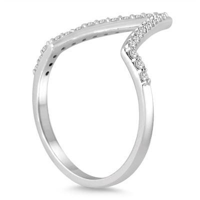 1/4 Carat TW Open Diamond V Ring in 14K White Gold