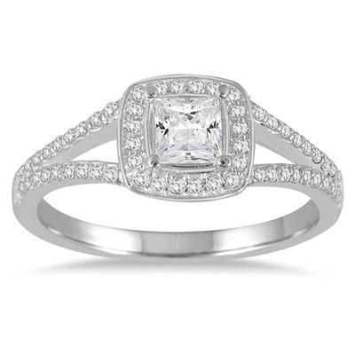 5/8 Carat TW Princess Cut Diamond Engagement Ring in 14K White Gold