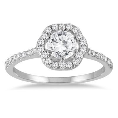 AGS Certified 1 Carat TW Halo Diamond Engagement Ring in 14K White Gold (J-K Color, I2-I3 Clarity)