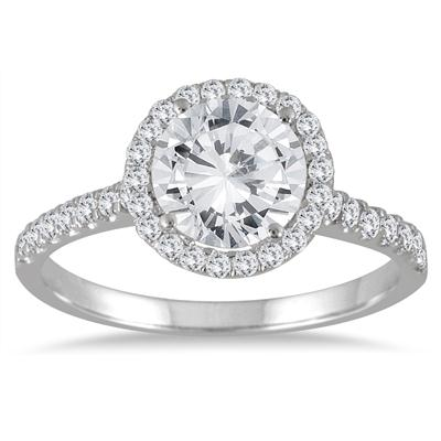 2 Carat TW Halo Diamond Engagement Ring in 14K White Gold (J-K Color, I2-I3 Clarity)