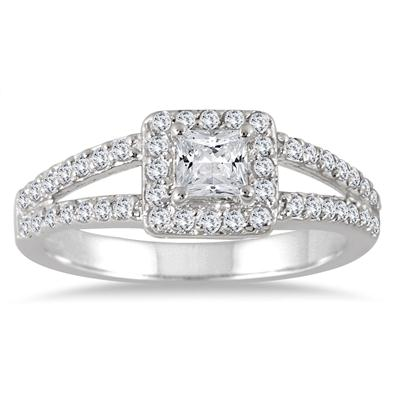 7/8 Carat TW Princess Diamond Halo Engagement Ring in 14K White Gold