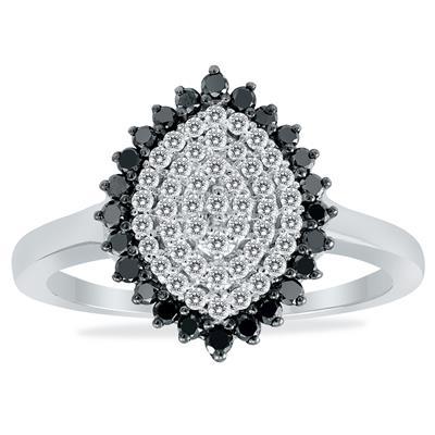 Szul 1/2 Carat TW Diamond Cluster Ring in .925 Sterling Silver