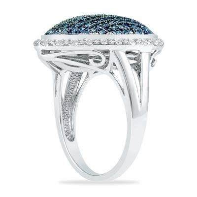 1 Carat TW Blue and White Diamond Cocktail Ring in .925 Sterling Silver